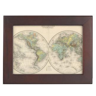 World hypsometric maps keepsake box