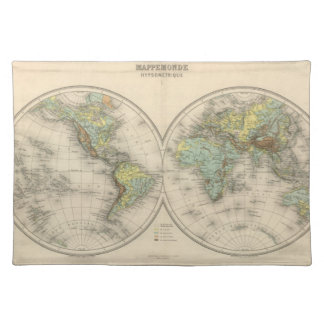 World hypsometric maps placemat