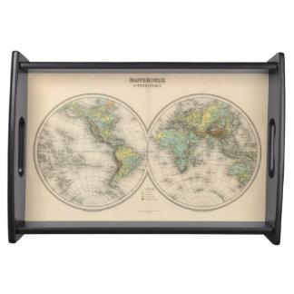 World hypsometric maps serving tray
