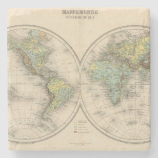 World hypsometric maps stone coaster
