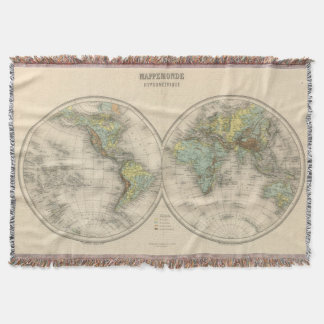 World hypsometric maps throw blanket