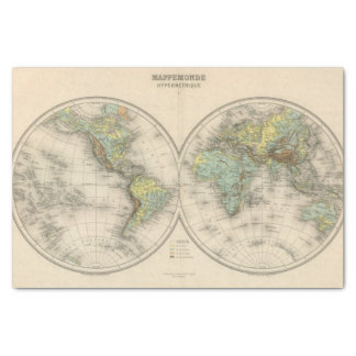 World hypsometric maps tissue paper