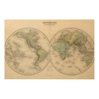 World hypsometric maps wood print
