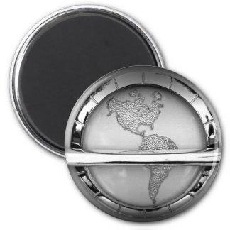 World in Chrome Magnet