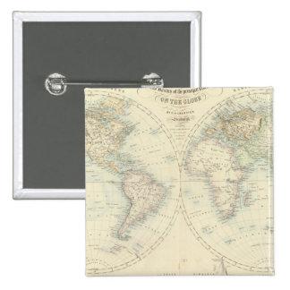 World in Hemispheres 15 Cm Square Badge