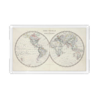 World in hemispheres acrylic tray