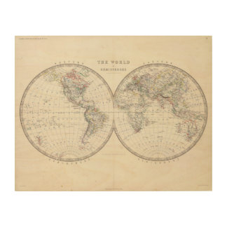 World in hemispheres wood canvases