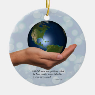 WORLD IN HIS HAND CHRISTMAS ORNAMENT