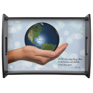 WORLD IN HIS HAND SERVING TRAY