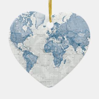 World is Art - Blue Ceramic Heart Decoration