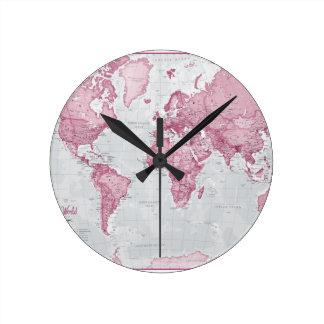 World is Art - Pink Round Clock