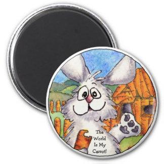 World Is My Carrot  Round Rabbit Magnet