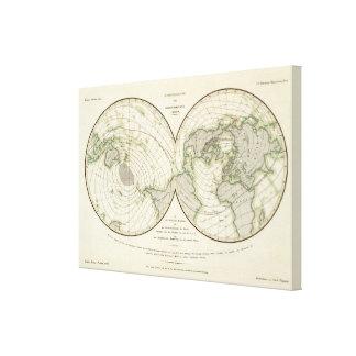 World isodynamic lines canvas print