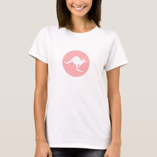 World Kangaroos White Kangaroo on Pink T-Shirt