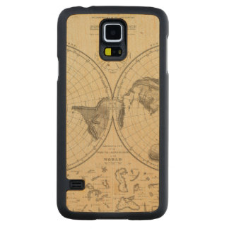 World land surface carved maple galaxy s5 case