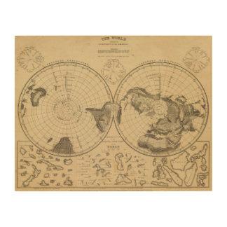 World land surface wood print
