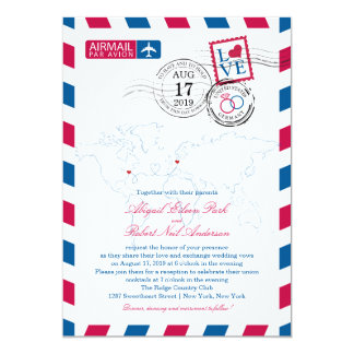 World Locations USA and Germany Airmail   Wedding 5x7 Paper Invitation Card
