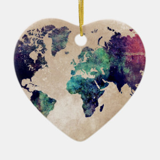 world map 10 ceramic heart decoration