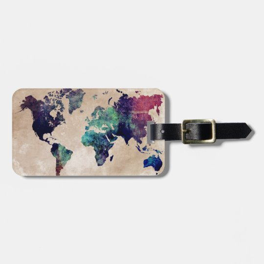 world map 10 luggage tag