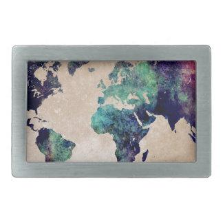 world map 10 rectangular belt buckle