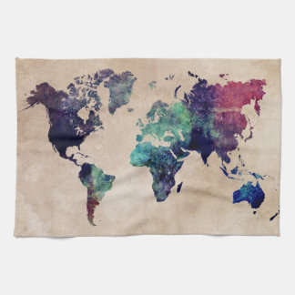 world map 10 tea towel