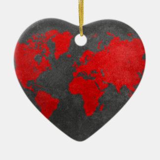 world map 11 ceramic heart decoration