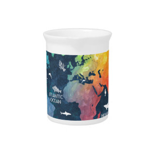 world map 12 beverage pitchers