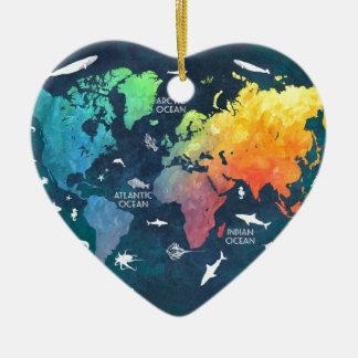 world map 12 ceramic heart decoration