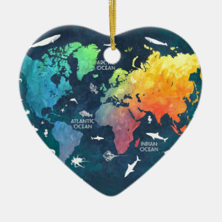 world map 12 christmas ornament