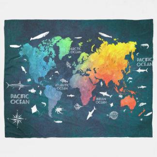 world map 12 fleece blanket