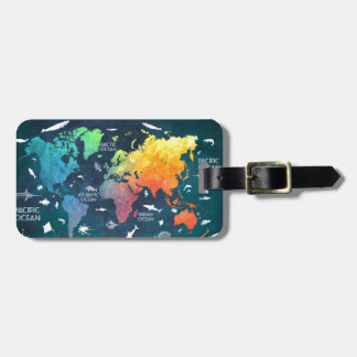 world map 12 luggage tag