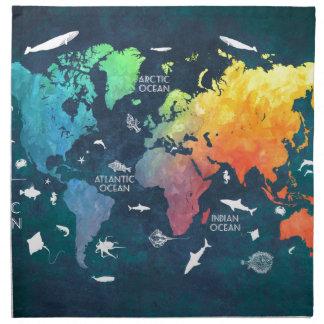 world map 12 napkin