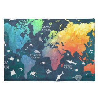 world map 12 placemat