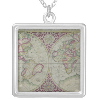 World Map 12 Silver Plated Necklace