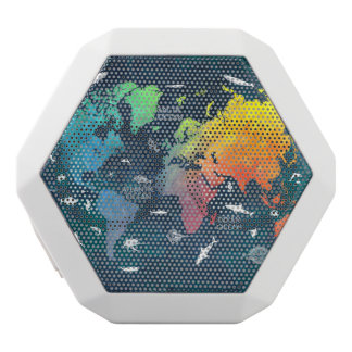 world map 12 white bluetooth speaker