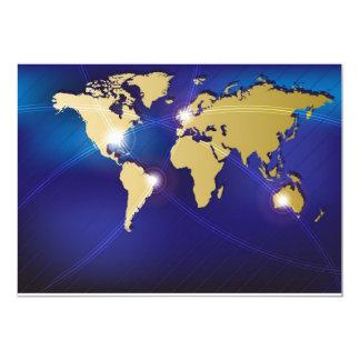World Map 13 Cm X 18 Cm Invitation Card