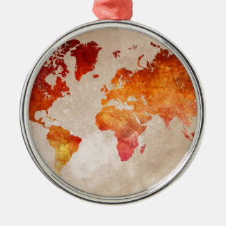 world map 13 Silver-Colored round decoration