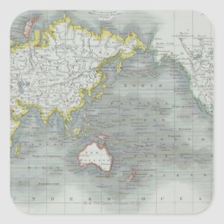 World Map 13 Square Sticker