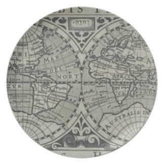 World Map 14 Party Plates