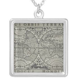 World Map 14 Silver Plated Necklace