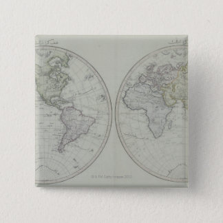 World Map 15 15 Cm Square Badge