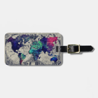 world map 15 luggage tag