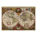 World Map 1630 Poster