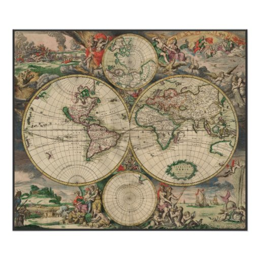 World Map 1671 Poster