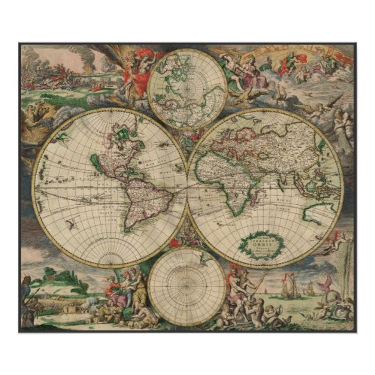 Pink world map art posters framed artwork zazzle world map 1671 poster gumiabroncs Images