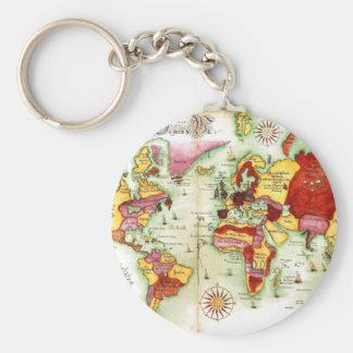 World Map 1675 Basic Round Button Key Ring
