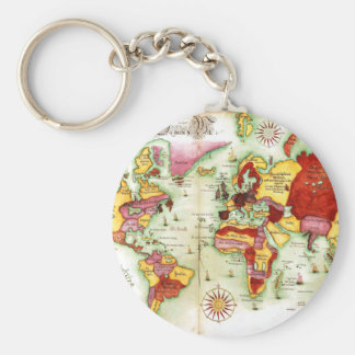 World Map 1675 Basic Round Button Key Ring
