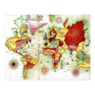 World Map 1675 Postcard