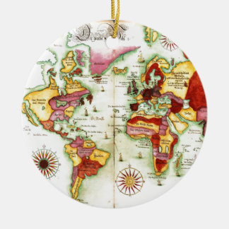 World Map 1675 Round Ceramic Decoration