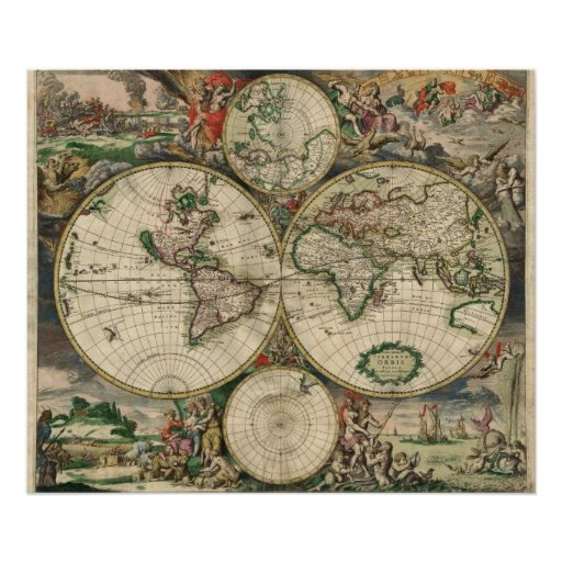 World Map - 1689 Poster